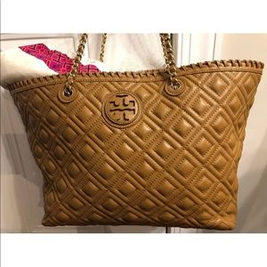 Tory Burch quilted Marion tote.